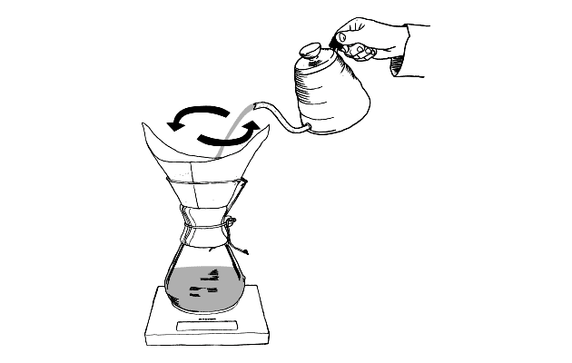 Pour water in the Chemex in a circular motion