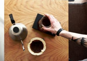 Pour-over coffee top view
